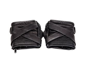 KROSS WRAP KOMBAT Black Fingerless Leather Gloves