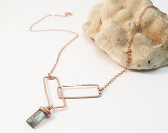 Rose Gold Filled Interlocking Rectangle Necklace - Labradorite (N436RG-LA) Pink Gold, Geometric, Gemstone, Wire Wrapped, Modern
