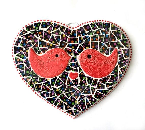 Lovebirds Plaque, Heart Shaped Mosaic Plaque with Birds, Love Birds Polka Dot Heart Plaque,Mosaic LOVE Wall Hanging, Love Birds Heart Mosaic