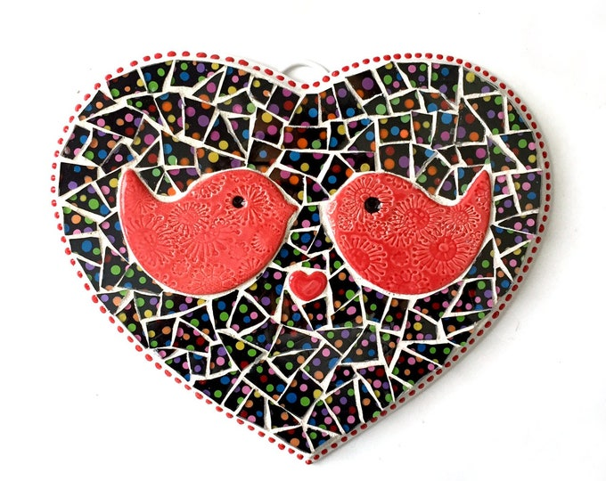 Lovebirds Plaque, Heart Shaped Mosaic Plaque with Birds, Love Birds Polka Dot Heart Plaque,Mosaic LOVE Wall Hanging, Love Birds Heart Mosaic