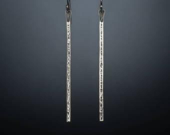 Sterling silver long dangle bar earrings/ Minimal line earrings/ Modern simple bar earrings/ Handcrafted modern/ Every day casual silver