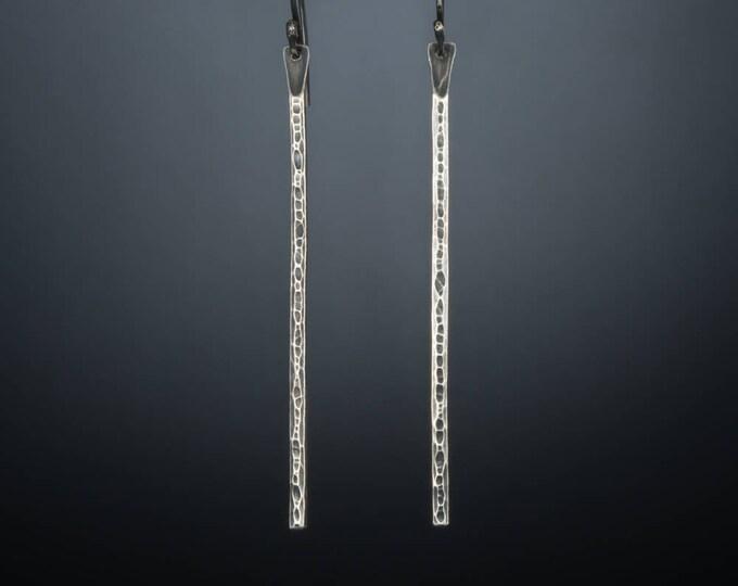 Hammered Bar Earrings- Long Dangles