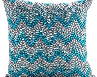 """Designer Turquoise Blue Pillow Covers, 16""""x16"""" Silk Pillowcase, Chevron Pillow Cover, Square 3d Sparkly Beads Pillows Cover - Turquoise Run"""