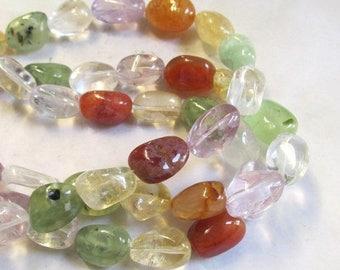 20% OFF SALE Citrine Amethyst Prehnite Nugget Beads, Crystal Rock Quartz Carnelian All Natural Rainbow Gemstone