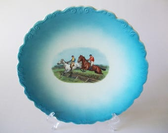 Fox Hunt Scene Plate, O.C.Co. LimogeS Porcelain, Antique Decor Jumping Horses, Ohio, USA 1900