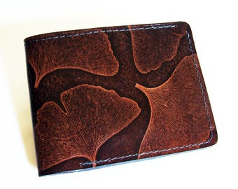 "Leather Wallet - Thin Bi-fold with Ginkgo Leaf Design - Men's Leather Wallet - ""B"" Style Interior"