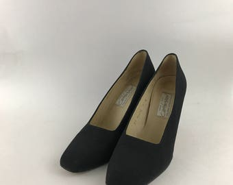 Vintage Lord & Taylor Black Fabric Heels Size 7M