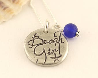 Beach Girl Charm Necklace - Seaglass Necklace - Summer Beach Necklace - Vacation Necklace - Cruise Jewelry - Sea Glass Necklace