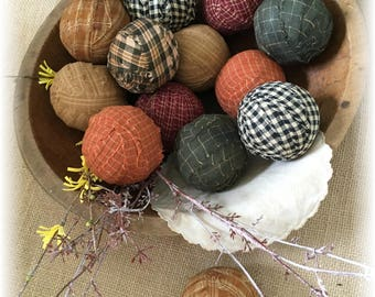 Primitive Grungy Rag Balls Bowl Fillers Lot 13 Vintage Doily Twigs Fall Autumn