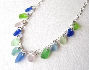 Multi Color Sea Glass Necklace on Sterling Silver with Bright Green, Soft Blue, Kelly Green, and Rare Cobalt, Cornflower, and Purple