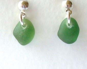 Forest Green Single Drop Stud Earrings on Sterling Silver
