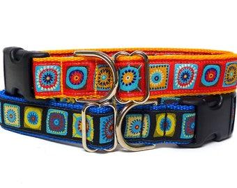 CARIBBEAN collar, blue dog collar, red dog collar, tag collar, house collar, buckle collar, dog tag collar, dog collar, house collar
