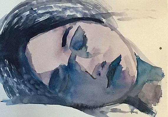 Morgan's eyes closed Portrait- original watercolor portrait painting by Gretchen Kelly