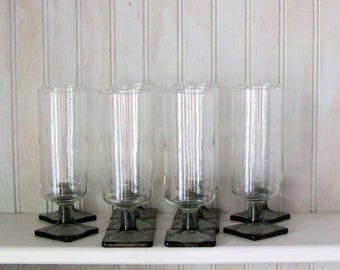 Ten Smokey Gray Mimosa Or Dessert  Square Footed Glasses