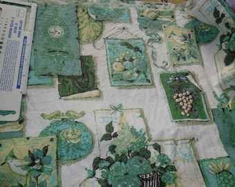 "Vintage Cotton Twill fabric in Greens & Turquoise - 2 yds x 36""w -Vintage themed"