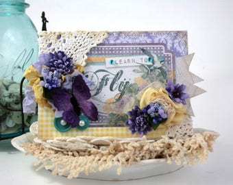 shabby chic card-LEARN TO FLY-birds and butterflies greeting