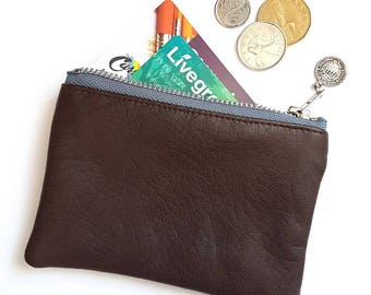 VEGAN Leather Pouch. Brown Faux Leather. Zippered Wallet. Upcycled Change Purse. Vegan Coin Purse. Ready To Ship