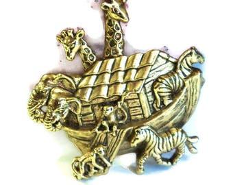 Antique Gold  Noah's Ark Magnet, Upcycled Vintage Brooch,  Home Decor, Kitchen Decor