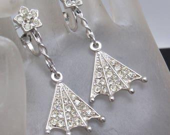 Long Vintage Rhinestone Fan Earrings Clip On Jewelry E8056