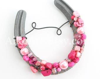 Pink Pearl Large Beaded Horseshoe