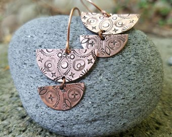 Copper Mandala Earrings, Hand Stamped, Half Moon, Lightweight, Boho Bohemian