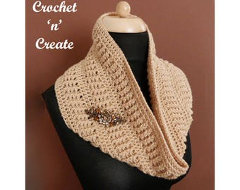 Crochet Ribbed Cowl Crochet Pattern (DOWNLOAD) CNC108