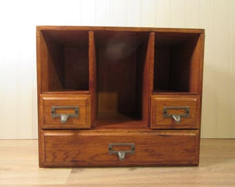 Vintage oak wood desk organizers with three drawers and pigeon holes- solid, fully functional, beautiful