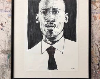 Hand drawn portrait of Mahershala Ali- framed