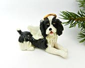 Reserved for Iglenn Angel Springer Spaniel Liver Christmas Ornament Figurine OOAK Porcelain