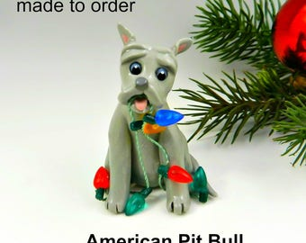 American Pitbull Terrier Porcelain Christmas Ornament Figurine Made to Order