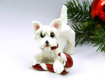 Westie West Highland White Terrier Christmas Ornament with Candy Cane Figurine Porcelain Clay