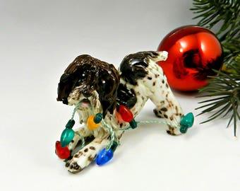Spinone Italiano Christmas Ornament Figurine Lights Porcelain