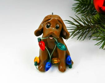 Vizsla Christmas Ornament Figurine Lights OOAK Porcelain