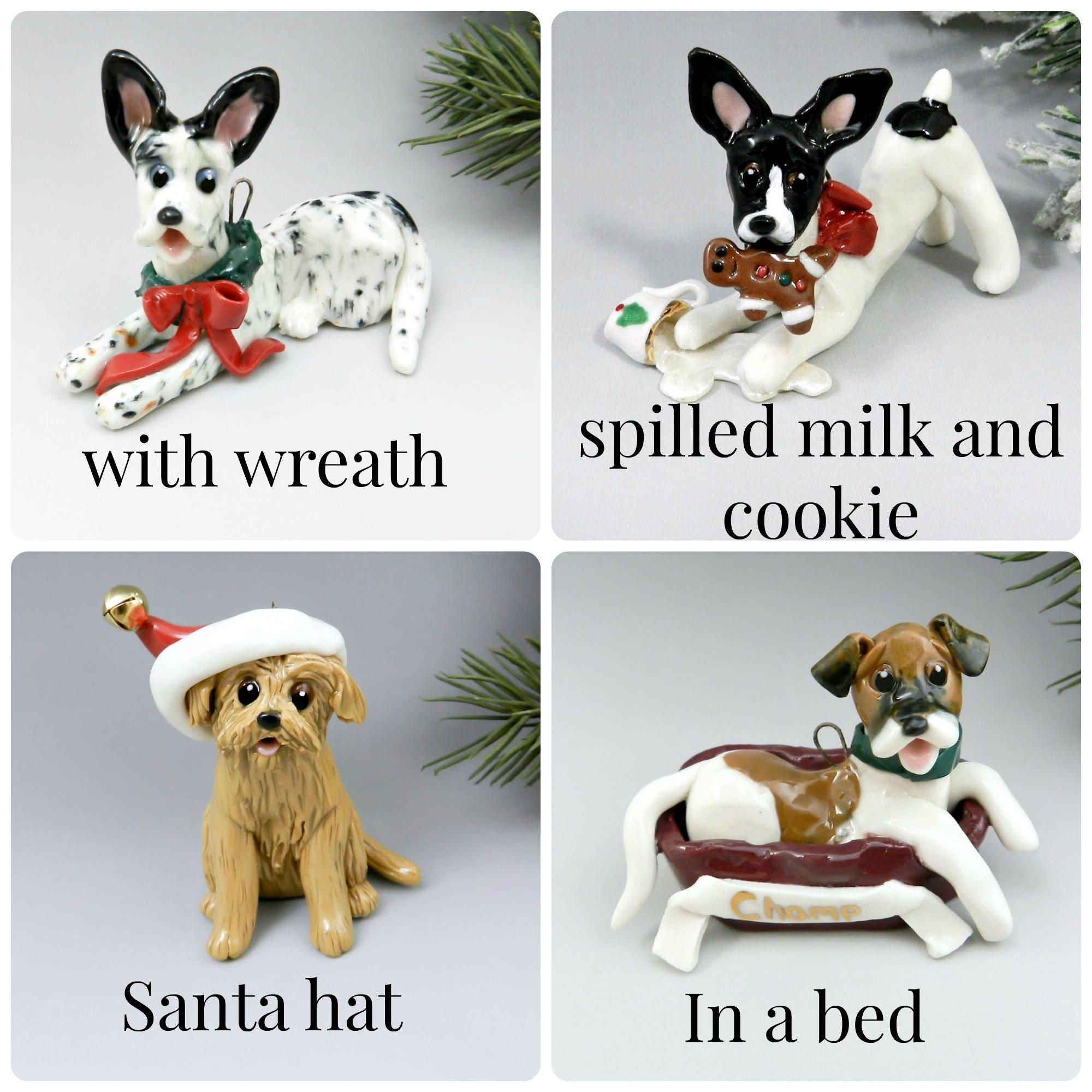 Custom from Photos Dog Pet Christmas Ornament Figurine Porcelain Clay