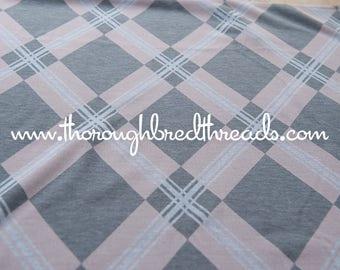 Wonderful Argyle- Vintage Fabric New Old Stock Geometric Pink Gray