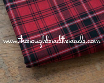 Mad About Plaid - Vintage Fabric Multi-Colored Checked Preppy Black Red Tartan