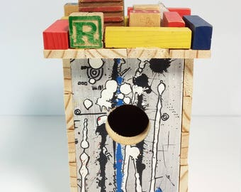 Rustic hand crafted bird house made with reclaimed and raw wood colorful bird house 9 1/2 inches