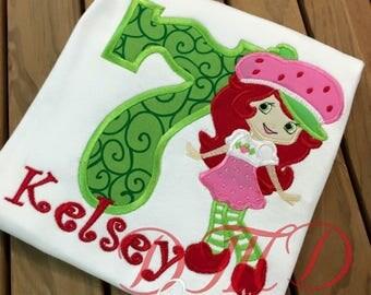 Strawberry Shortcake Birthday Applique Shirt