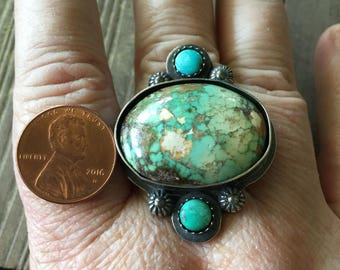 Turquoise ring triple stone
