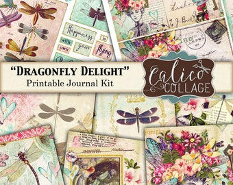 Journal Kit, Dragonfly Delight, Junk Journal, Printable Journal, Ephemera Pack, Dragonflies, Whimsical, Digital Paper, Digital Download