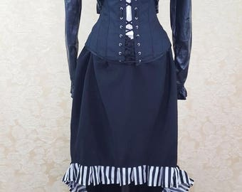 SALE Black And White Stripe Pleat Trim Walking Skirt Tiered Long Victorian Skirt-One Size Fits All