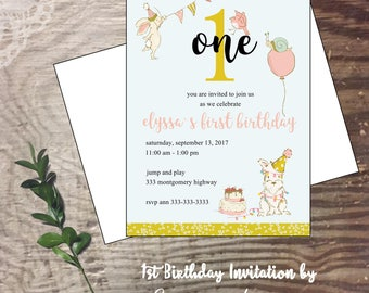 First birthday party invitation birthday celebration girl One birthday party invite balloons animals pastel colors birthday cake