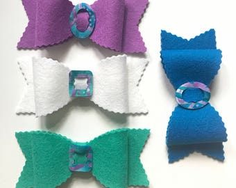 Felt Bows, Scalloped Bows, Set of Four, Large Hair Bows, Wool Felt, Accessories, Hat Band, Home Decor, DIY Pet Collar, Planner Charm