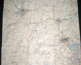 Vintage  (1929) Massachusetts City Map  - Marlboro, MA - in 9 Sections - Great for Crafting