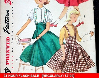 Flash Sale!!! 1940s Simplicity sewing pattern #1742; Girl's size 10; Skirt and Suspender Skirt; PATTERN IS COMPLETE