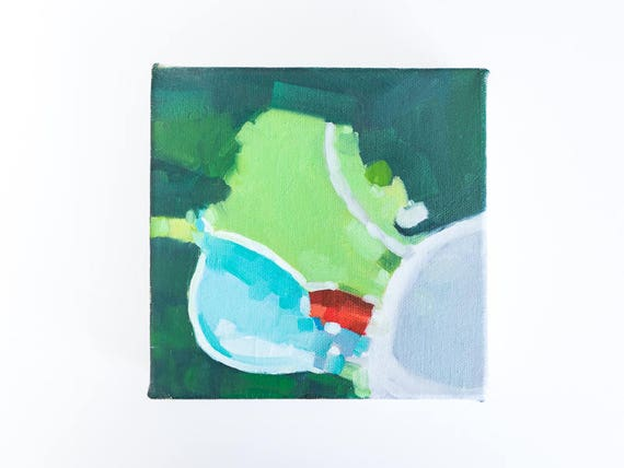 Swimming Pool Painting - Small Abstract Art - Original Oil Painting