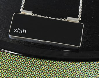 SALE - Computer Key Jewelry - rePURPOSED Apple Mac Shift Key Pendant with Sterling Chain