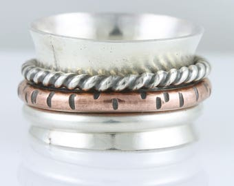 Sterling Spinner Ring with Textured Copper, Sterling Forged Twisted and Round Wire Spinners - Anxiety, Stress, Fidget and Meditation Ring