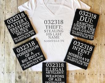 Bachelorette Party Shirts, Bridal Party Shirts, Bridesmaid Gift, Jail Shirt, Bridesmaid Shirt, Bachelorette Tank Top, Bridesmaid Tanks, Jail