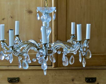 Vintage Shabby Chic Lovely........Crystal Chandelier 8 Glass Arm